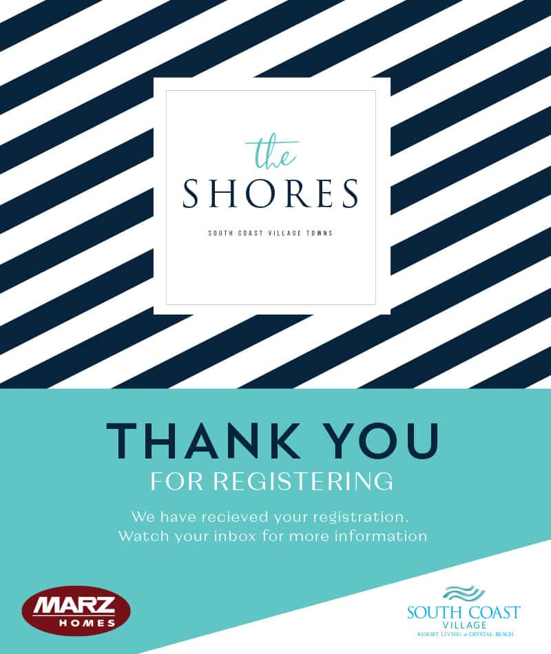 Thank you for registering at The Shores!